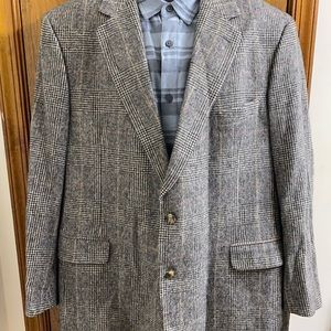 Brooks Brothers Grey Plaid Gingham Camel Hair